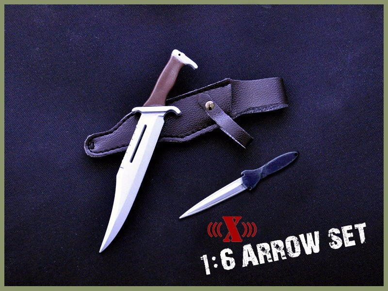 """Buy Hobby Collections X-TOYS 1/6 Scale Rambo Black Bow Arrow Set & Knife Model Toys For 12"""" Action Figure Body Accessory cheap"""