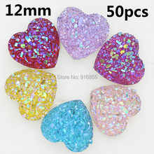 Free shipping Fashion mixed color 12mm 50pcs AB Flatback Resin Heart Stone beads, flatback resin rhinestone for DIY deco