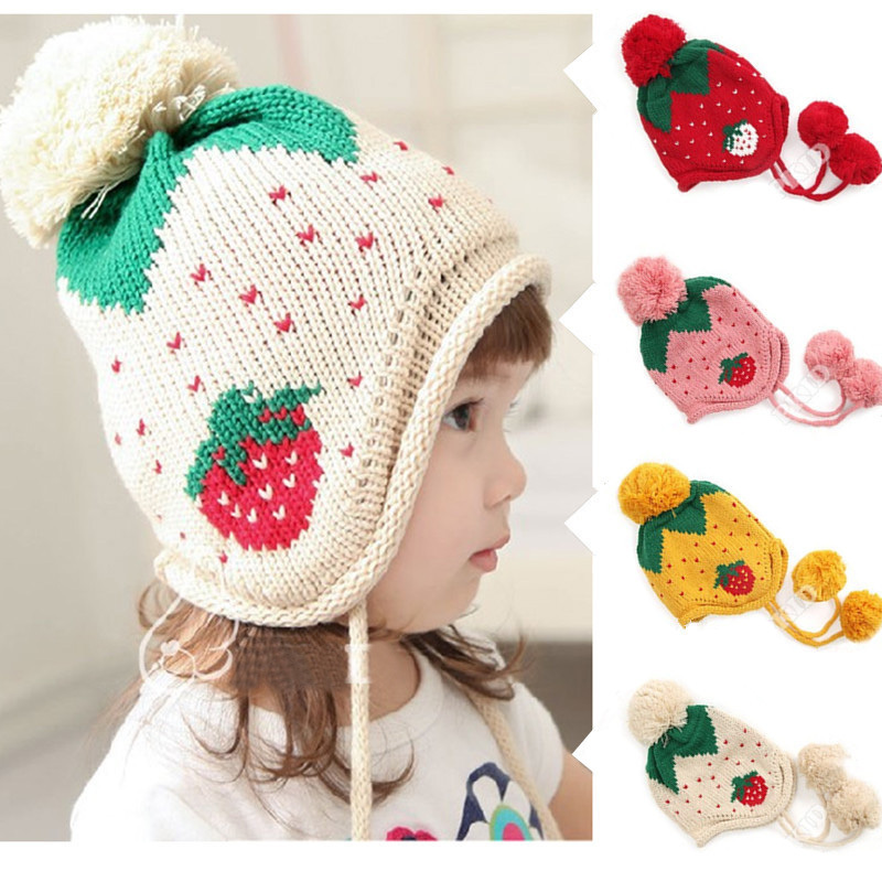 Hot Sale !!! 4 Colors Baby Knit Sweater Cap Hats Winter Warm Knitted Hat Infant Toddler Children Beanie Hat Warm Winter Cap(China (Mainland))