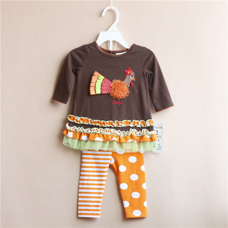 2015 New Children's Clothing Girls Outfits For Baby Girl long-sleeved Brown Thanksgiving Turkey T-shirts+Ruffle Pants Suits(China (Mainland))