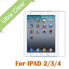 100pcs/lot Clear HD Glossy LCD Screen Protector Tablet PC Transparent Screen Protective Film For Apple iPad 2 3 4 +cloth