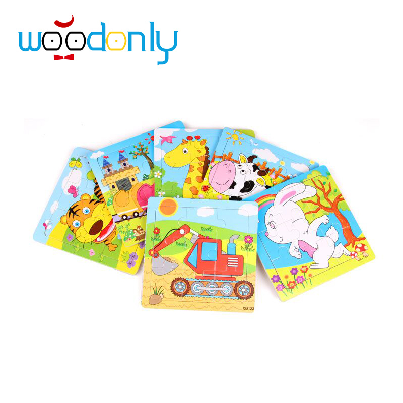 Wooden Animal Puzzle 9 piece Toy Baby Children Educational Birthday Gift kids Puzzles toys for children educational toys oyuncak(China (Mainland))