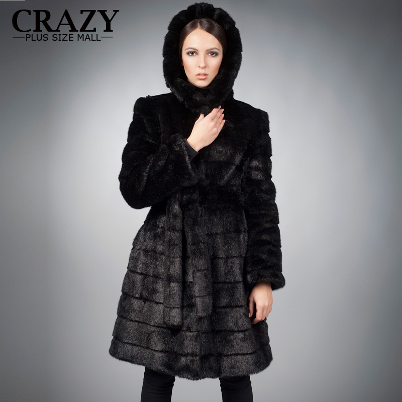 New 2016 X-Long 90cm Plus Size Women Clothing 4XL 5XL Winter Artificial Economy Mink Fur Coat with a Hood Luxury Fake Fur Coats(China (Mainland))