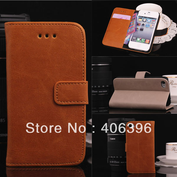 Newest Slide Flip Magnet Folio Style One Card Slot Stand Function Money Pocket Leather Case for iPhone 4S 4 4G(China (Mainland))