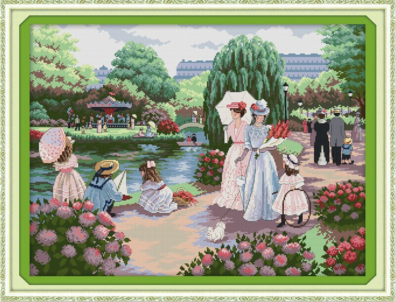 Outing scenic DMC cross stitch 14ct White 11CT print DIY Cotton thread embroidery handmade needlework craft home decor(China (Mainland))