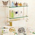 White Gold Polished Antique Bronze Brass Wall Mounted Bathroom Accessories Bathroom Shelf Single Double Rack With