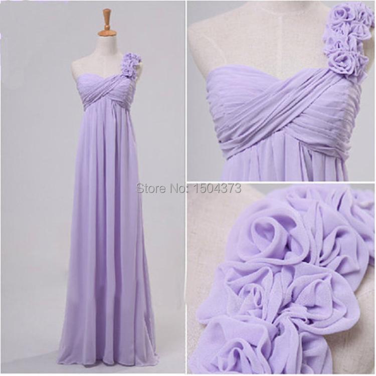 One Shoulder Purple Long Bridesmaid Dresses A Line Empire ...