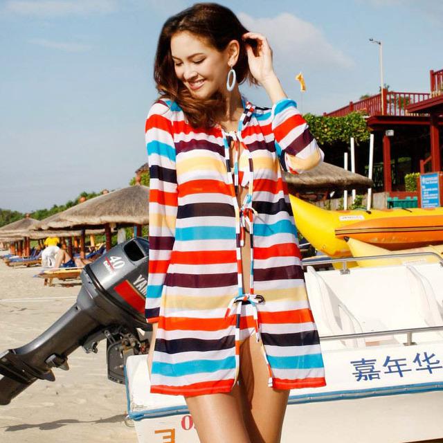 free shipping 2012 swimwear multicolour stripe steel piece set swimwear 13052 dropshipping