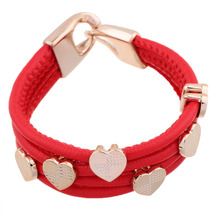 Fashion woman plating gold silver chain bracelet red rope bracelet Multi Heart jewelry gift(China (Mainland))