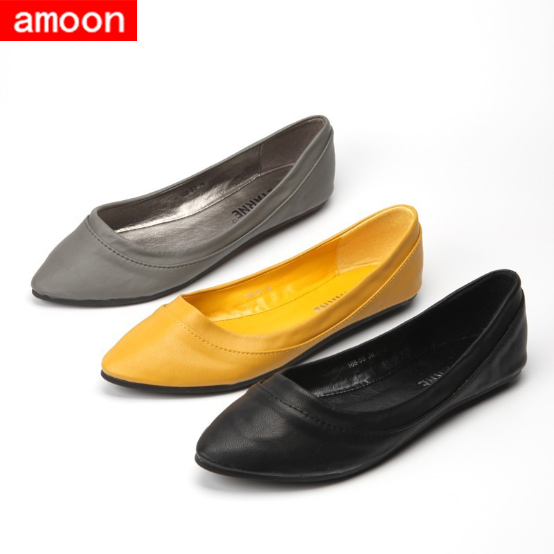 Amoon / Woman Girl Shoes 2015 New Hot Summer Autumn Rubber Simple Pointed Toe PU Ballet Flat 108#5/ 3 Colors/ 7 Plus 41 Size - ^^ Flats and More store