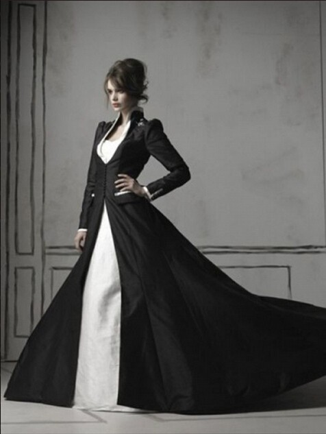 New Style Europe High Quality Black Satin Coat With White Taffeta Bride Gwon Inside Two Pieces Wedding Dress Bridal Gown S022(China (Mainland))
