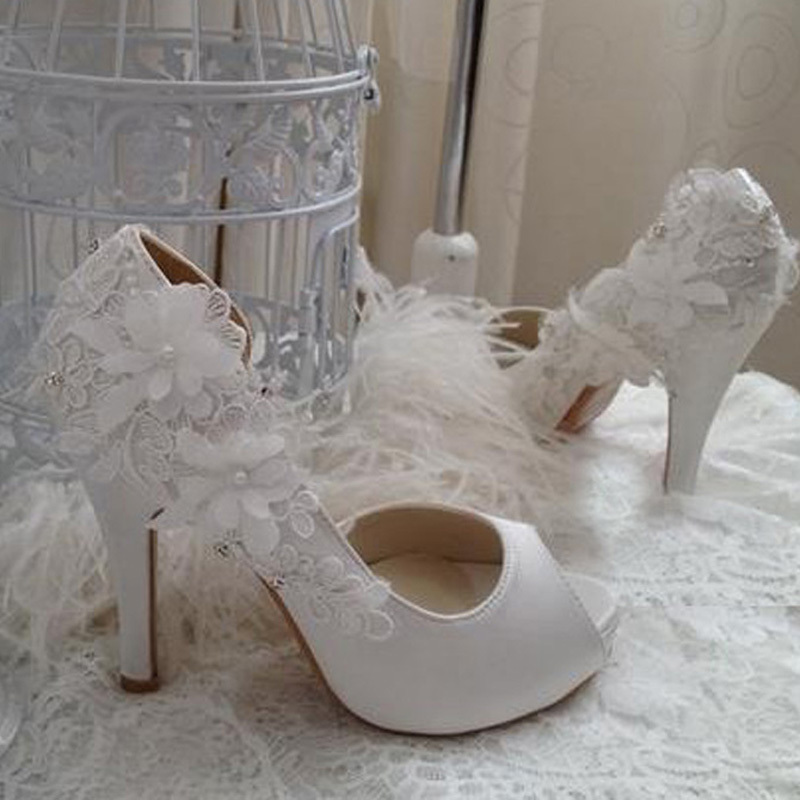 Wedding Gift Wedding Dress Shoes Bridal Shoes Bridesmaid Shoes High Heel Peep Toe Party Banquet Shoes Off White Color Size 34-40<br><br>Aliexpress