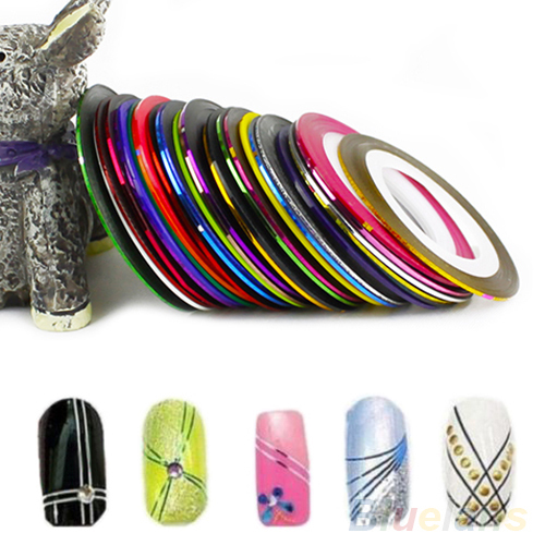 30pcs Mixed Colors Rolls Striping Tape Line Nail Art Tips Decoration Sticker 2IQX