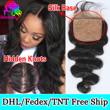 Brazilian Body Wave Silk Base Closure Virgin Human Hair Silk Closure Free Middle 3Part Top Silk Base Lace Closure With Baby Hair(China (Mainland))