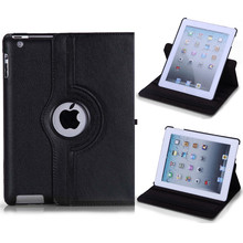 Hot sale 360 Rotate PU Leather Smart Stand Case Flip For apple iPad 4 for iPad 3 for iPad 2 Rotating Cover Tablet Case+pen+film(China (Mainland))