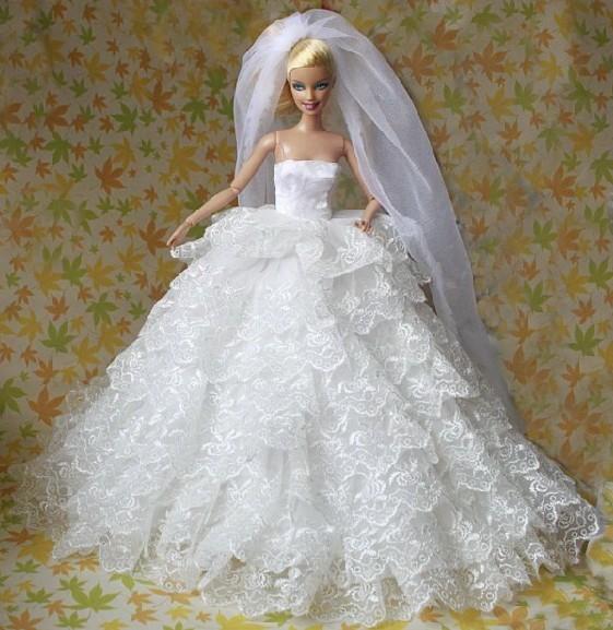 Super Fashion Dress Barbie Wedding Dresses For Dolls