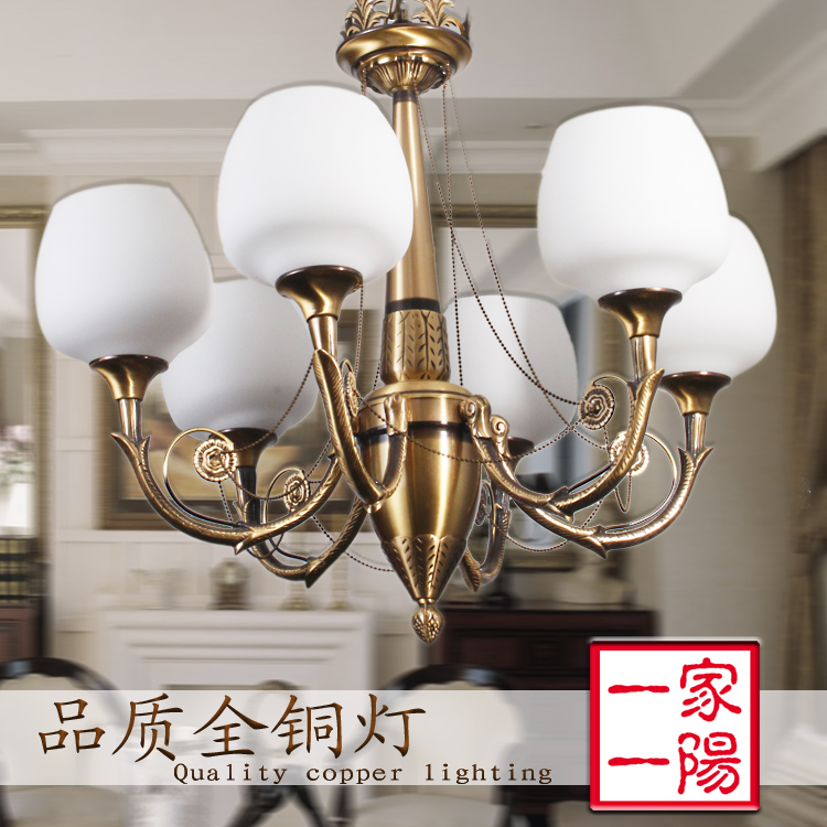 Fashion lamps lighting 6 copper pendant light living room lights stair lamp(China (Mainland))