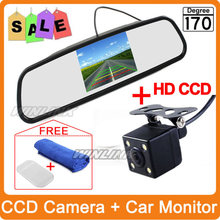 2 in 1 Auto Parking Assistance 4 LED Light Night Vision Reversing CCD Car Rear View Camera + 4.3 inch Car Reverse Mirror Monitor(China (Mainland))
