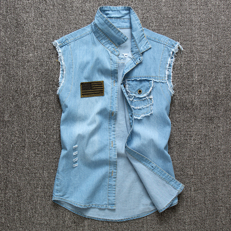 summer 2015 mens denim shirts sleeveless fashion slim thin