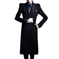 Womens Winter Imitation Wool Brand Long Coats Novelty Fashion Shrug Shoulder Double breasted Waist Band LongTrench