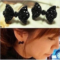 Western Fashion Simple Black Alloy Butterfly Bow Earrings C25R17