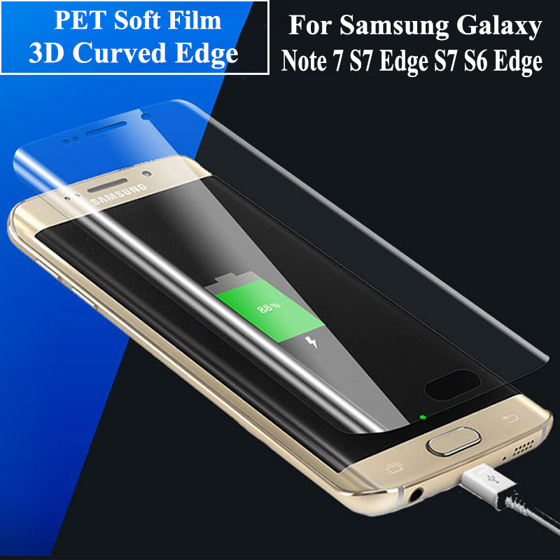 S7 Edge Case Film 3D Full Cover For Samsung Galaxy S7 Edge S7 S6 Edge S6 Edge plus Note 7 HD Screen Protector Soft PET Film(China (Mainland))