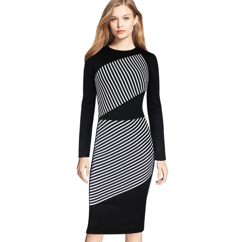 Womens Elegant Tartan Stripe Color Block Optical Illusion Tunic Slim Casual Wear to Work Bodycon Pencil Dress(China (Mainland))