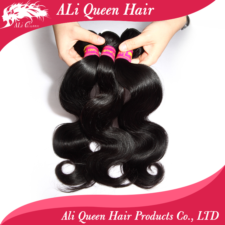 Ali queen hair products brazilian body wave 3 bundles, 6A brazilian virgin hair body wave tangle free human hair weave bundles(China (Mainland))