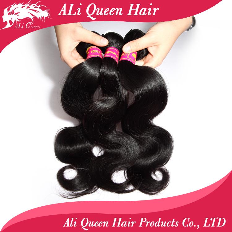 Ali queen hair products brazilian body wave 3 bundles, 6A brazilian virgin hair body wave tangle free human hair weave bundles(China (Mainland))