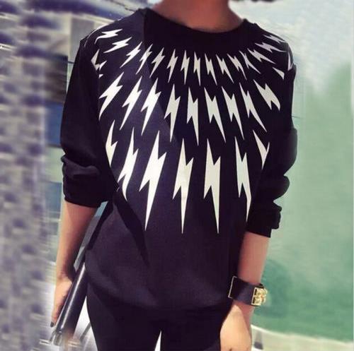 2015 Black Women Lightning Printed Hoodies Outwear Pullover Tracksuit Sweatshirts