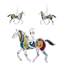 MS1504258 Fashion Horse Necklace Earring Set High Quality Silver Plated Multicolor Horse Pendant Dropshipping Wholesale