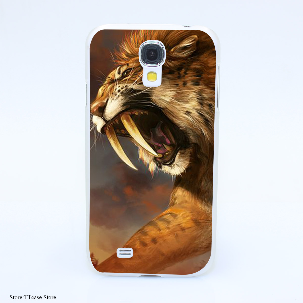 854CA Cute Animal Long tooth tiger Hard Transparent Case Cover for Galaxy S2 S3 S4 S5 & Mini S6 S7 & edge Plus(China (Mainland))