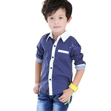 2016 Polka Dots Boys Shirts 3-12T Casual Long Sleeve Children's Shirts Kids Clothes Boys Tops School Children Clothing,SC061