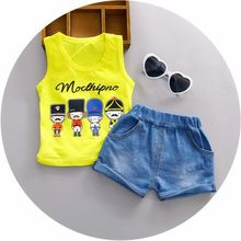 2016 Summer baby boys vest sets for 1 2 3 years old nice cotton fashion style children toolders infant clothing set A108(China (Mainland))