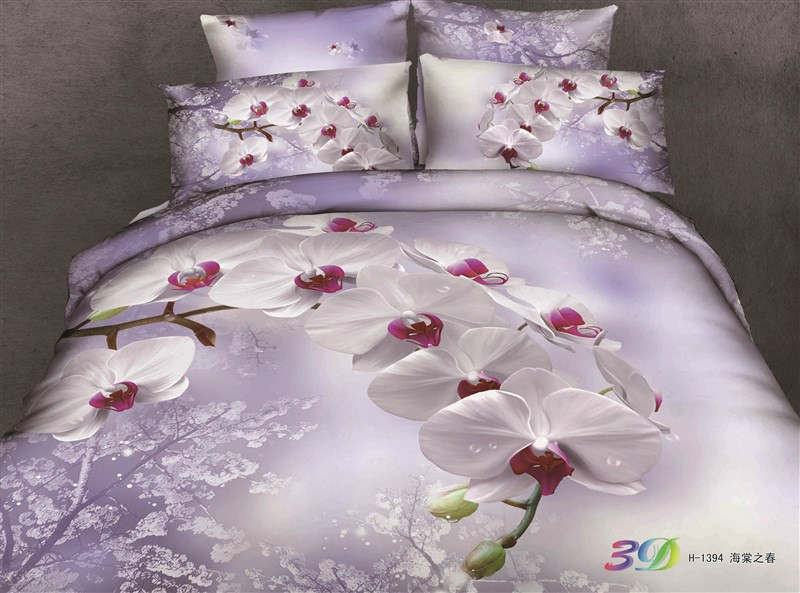 New arrival 3d effect 100% cotton Home textile 4pcs flowers duvet/quilt/comforter/bedlinen cover set Queen size bedding/B2153(China (Mainland))