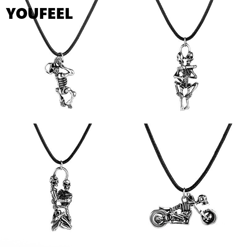 Fashion Punk Men Pendant Necklace Vintage Sliver Color Wing Skull Motorcycle Statement Necklace Summer Style Rope Jewlery HC655(China (Mainland))
