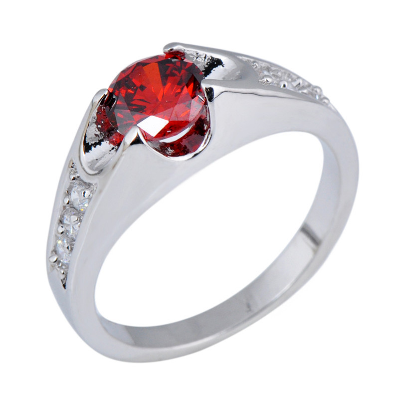 Size 6 7 8 9 10 Red Ruby Wedding Jewelry White Sapphire 10KT White Gold Filled