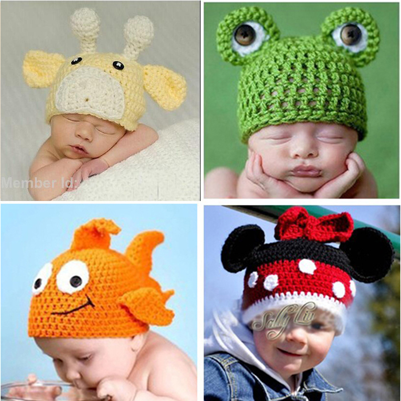 Kids Beanies Lovely Crochet Pattern Baby Hat Children Funny Winter Hats Handmade Knitted Toddler Animal Cap 10pcs SG035(China (Mainland))