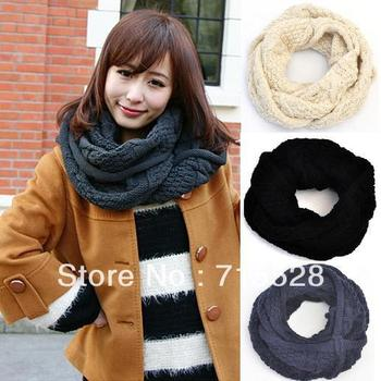 2012 Winter Women Warm Mohair Ring Thermal Cotton Yarn Dual Twisted Shawls And Cape Navy Beige Black Muffler Free Shipping 238g