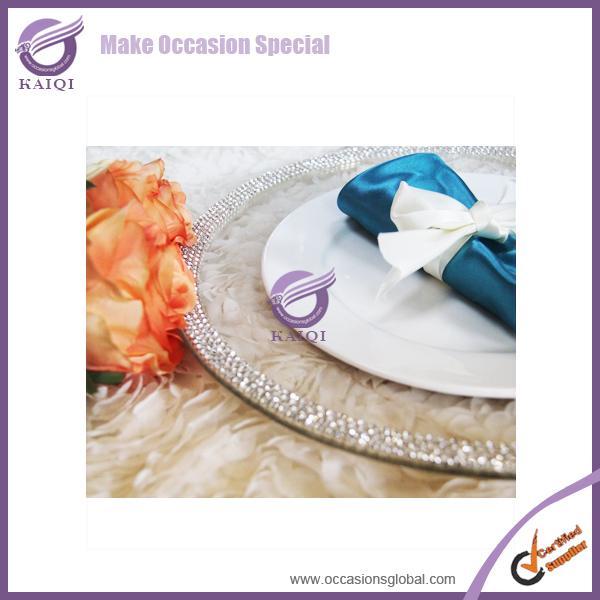 #18106 Whoelsale 500pcs Event Decoration Wedding drill machine diamond elegant Glass Charger plates(China (Mainland))