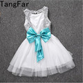 TangFar Girl Sequins Dress Party Gown Baby Formal Lovely Vestidos Backless Princess Bow Hollow Out Clothing