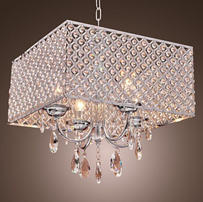 New Modern 4 Light Pendant Lights With Crystal Drops In
