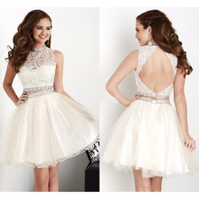 Beautiful Beaded Lace White Short Homecoming Dresses High Neck Two Piece Homecoming Dress Backless College Graduation Dress HC74(China (Mainland))