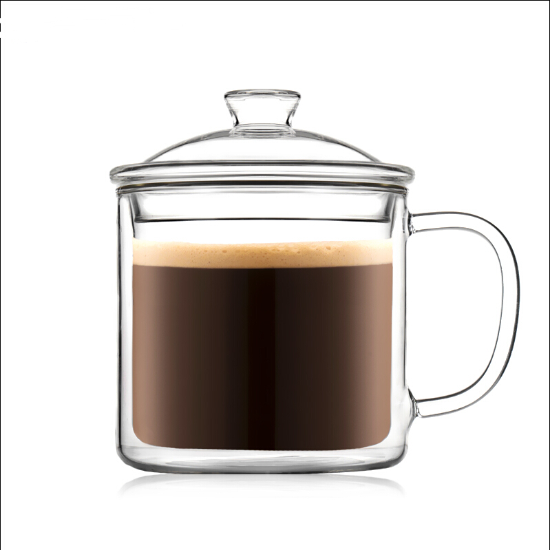 Lead Free of Top Grade Glass Drink Cup Office Convenient 350ML Coffee Tea Cups Milk Mug Portable Travel Drinkware With Lid(China (Mainland))