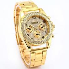 Lujo MILER nueva moda inoxidable caja oro de Bling Crystal Ladies Relogio del análogo de cuarzo de pulsera mujeres Rhinestone relojes de vestir