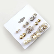 Buy 9 Pairs/Set Earrings Fashion Elegant Shiny Gold Colour Heart Crystal Pearl Flowers Stud Earrings Cute Super Value Earring Sets for $1.25 in AliExpress store