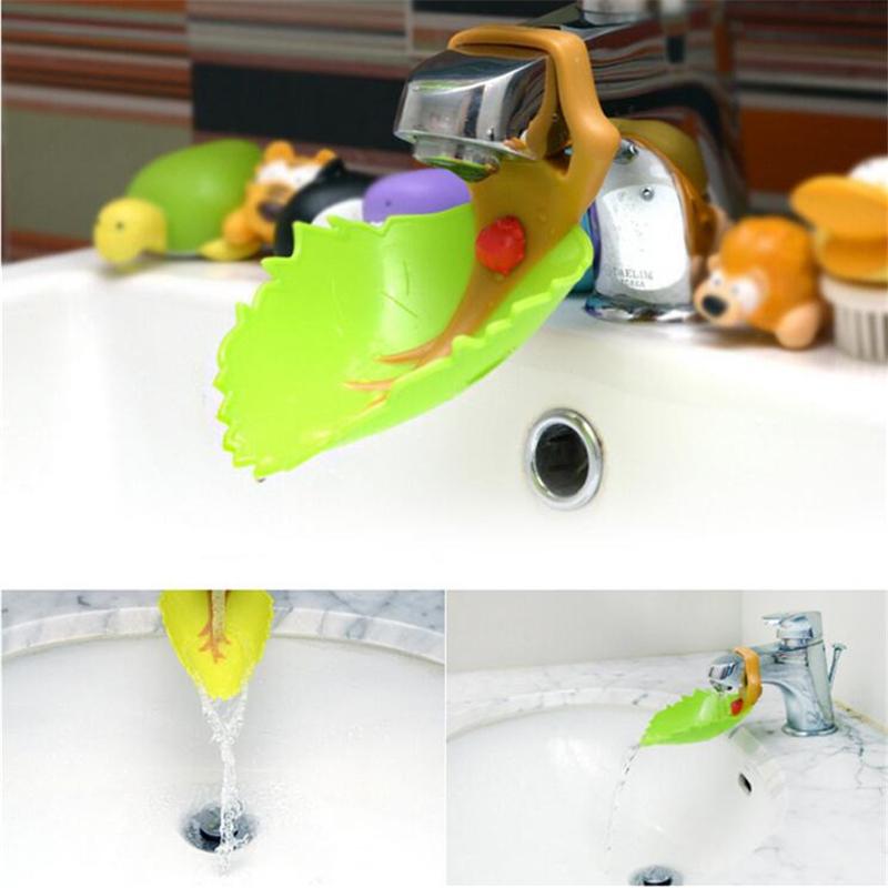 1 pc Baby Faucet Extender Cute Leaf &Crab Shape Baby Kids Hand Washing Sink Plastic Bathroom Sink Faucet Chute Faucet Extender(China (Mainland))