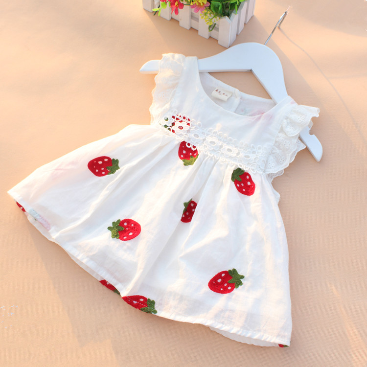High Quality 0-2Y Newborn Baby Girl Dress Baby Summer Embroidery Flower Strawberry Cotton Dress Infant Baby 1Year Birthday Dress(China (Mainland))