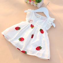 High Quality 0-2Y Newborn Baby Girl Dress Baby Summer Embroidery Flower Strawberry Cotton Dress Infant Baby 1Year Birthday Dress
