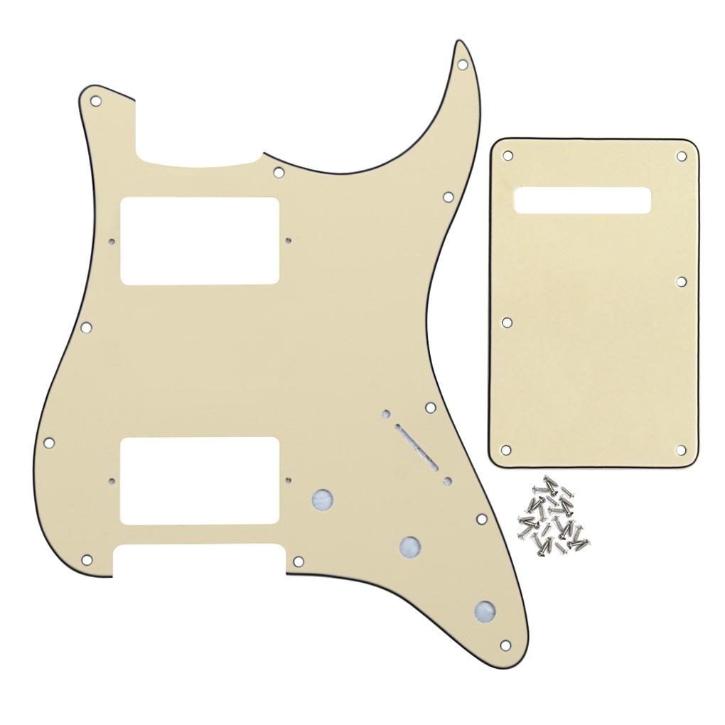 Cream Color 3Ply 11 Holes HH Guitar Pickguard Guitar Tremolo Spring Cover for FD Strat Guitar(China (Mainland))